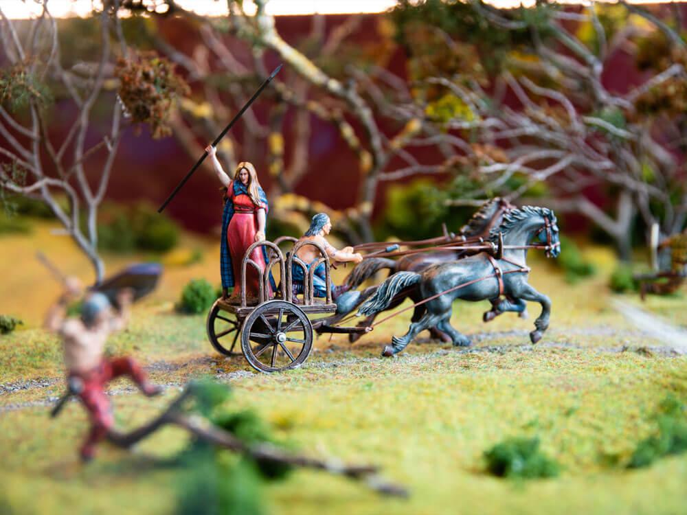 Queen Medb miniature model on horses