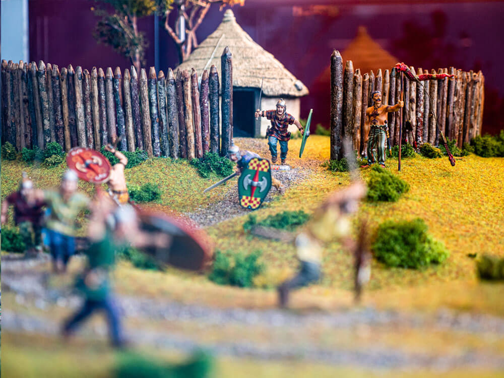 battle scene of miniature models at Rathcroghan Visitor Centre
