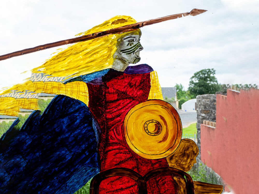 warrior paint art at Rathcroghan Visitor Centre