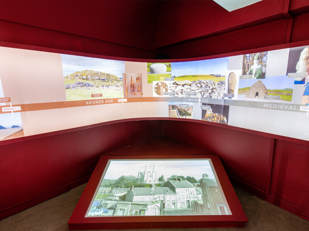 Interior of Exhibition hall at rathcroghan Visitor centre