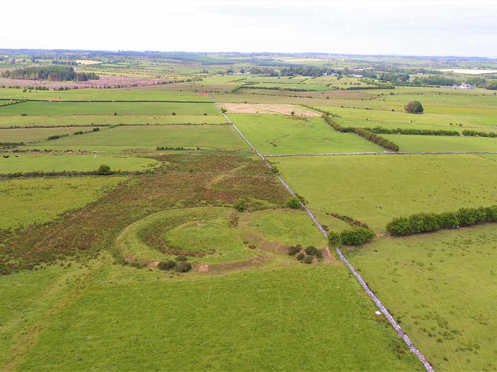 Aerial image of Dumha Selga's mound at Rathcroghan