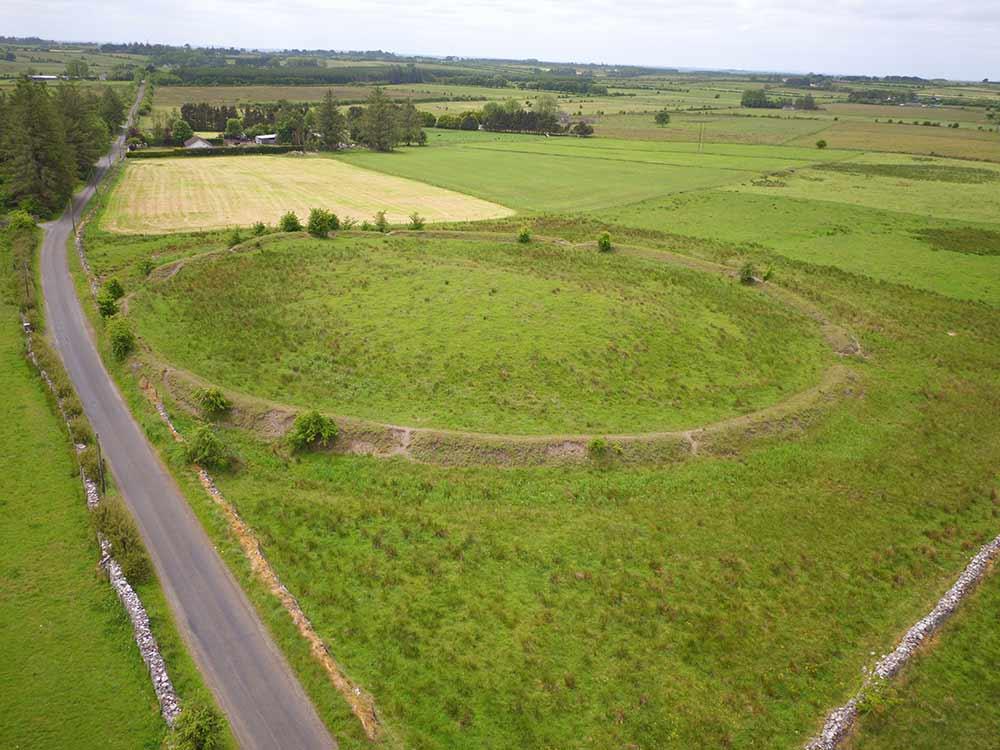Aerial image of Rathnadarve mound at Rathcroghan