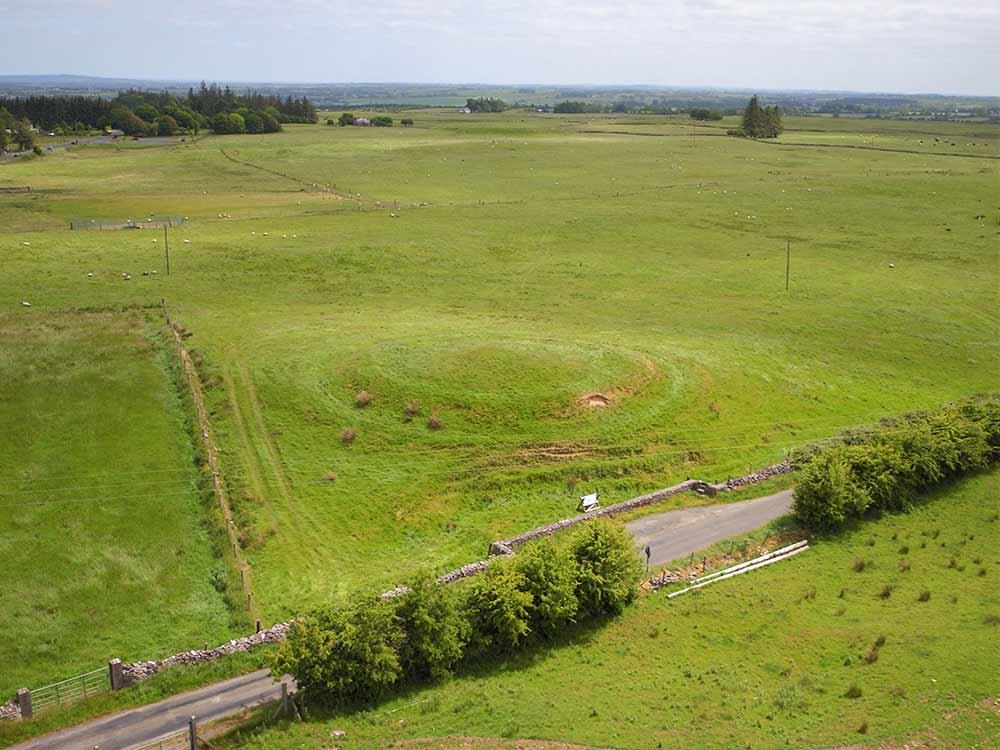 Aerial image of Rathbeg mound at Rathcroghan