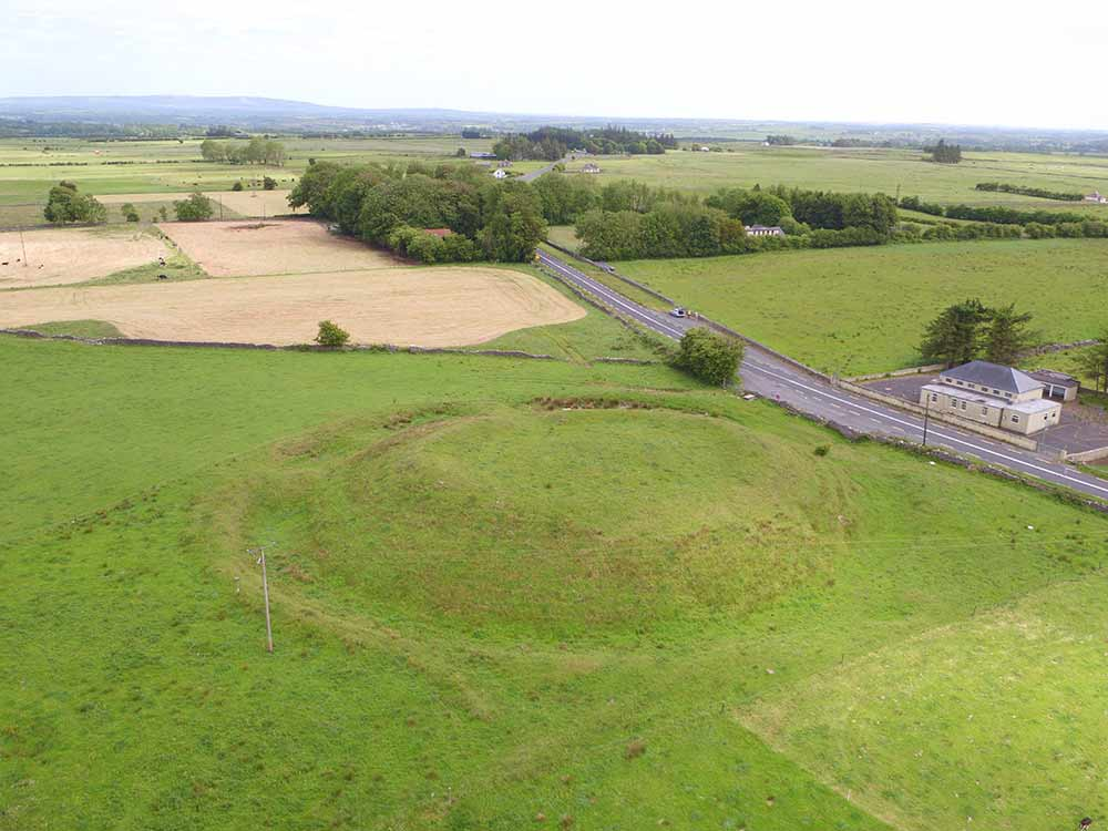 Aerial image of Rathmor mound at Rathcroghan