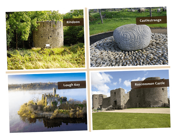 combination of images of Rindoon , Lough Key, Roscommon Castle and Castlegrange